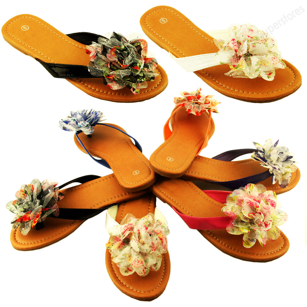 c1ce5cd12fe9 Details about Womens Sandals Cute colorful Ruffle Flower Thongs Flats  Sandal Style Flip Flops