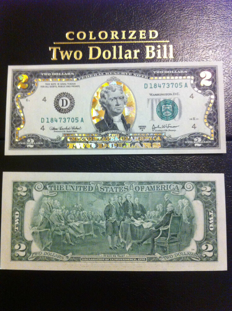 2 22 K Gold 2 Dollar Bill Hologram Colorized Usa Note Legal Currency Notes Ebay