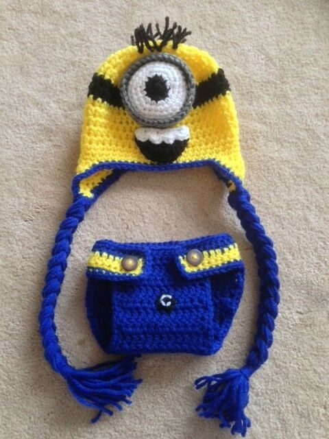 Crochet Baby Minion Hat Pattern : Hand Crochet Baby Despicable Me Minion Photo prop Diaper ...