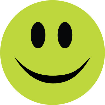 smiley face stickers lime green x 6 novelty humorous
