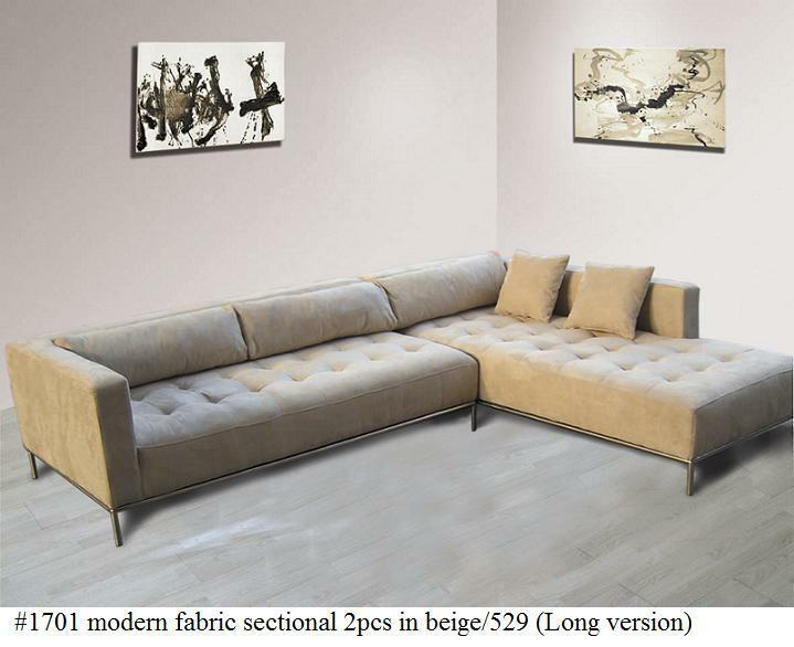2pc Modern Fabric Tufted Sectional Sofa 1701 In Beige