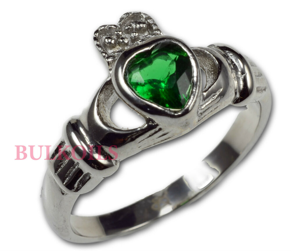 stainless steel irish celtic claddagh ring green crystal. Black Bedroom Furniture Sets. Home Design Ideas