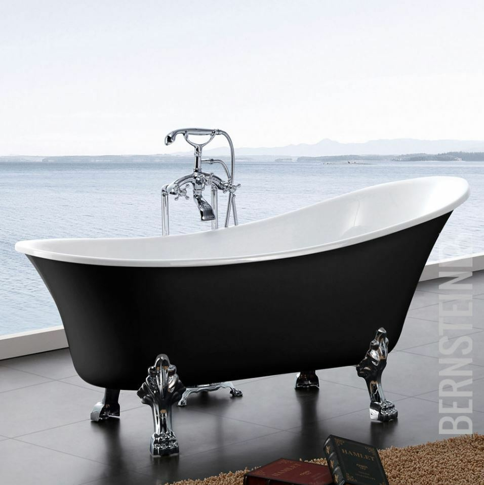 freistehende badewanne paris acryl schwarz 176x71 inkl armatur ebay. Black Bedroom Furniture Sets. Home Design Ideas