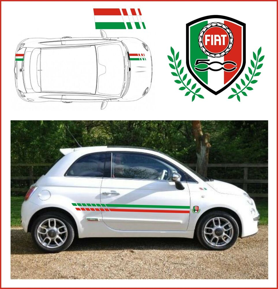 fiat 500 italian stripes with racing crest fit the best designer stripes ebay. Black Bedroom Furniture Sets. Home Design Ideas