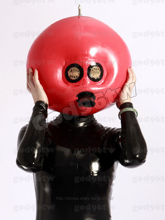 100 Latex Rubber Gummi Inflatable Mask Hood 08Mm With -9614