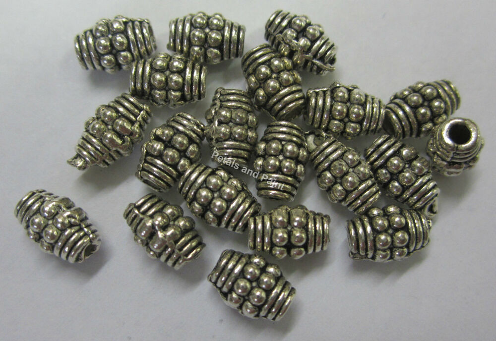 20 bali metal spacer antique silver tone bead