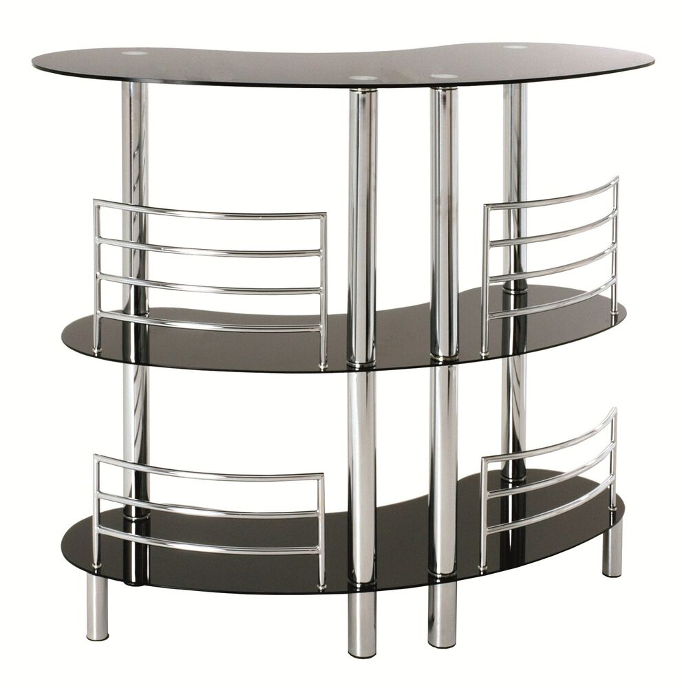 Black Glass Chrome 3 Tier Home Pub Drinks Bar 95222 Ebay