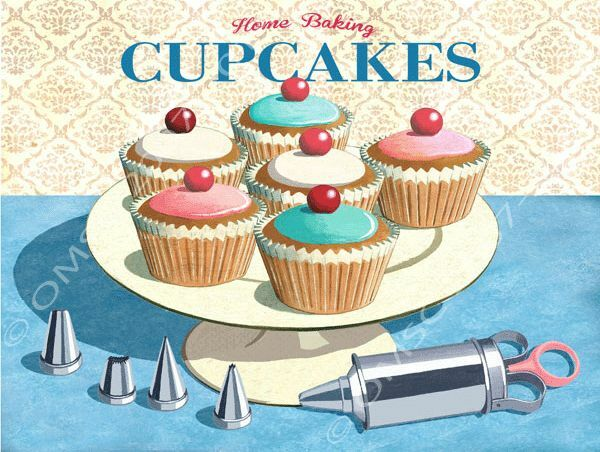 Home baking cupcakes metal sign retro kitchen decor vintage decorating tools 817665011407 ebay for Kitchen accessories cupcake design