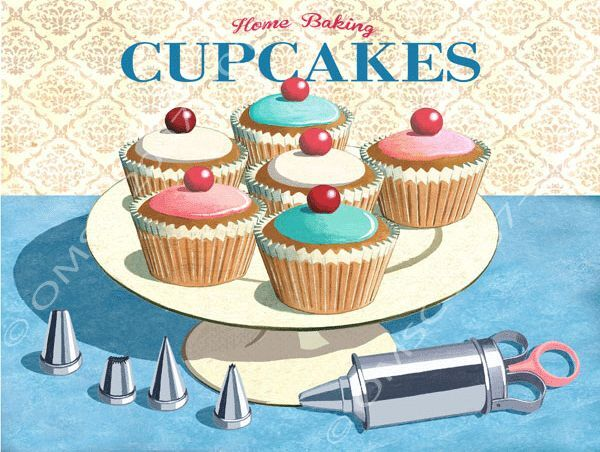 Home baking cupcakes metal sign retro kitchen decor Home decorating tools