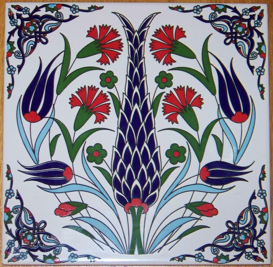 8 Quot X8 Quot Turkish Ottoman Ceramic Iznik Floral Pattern Tile