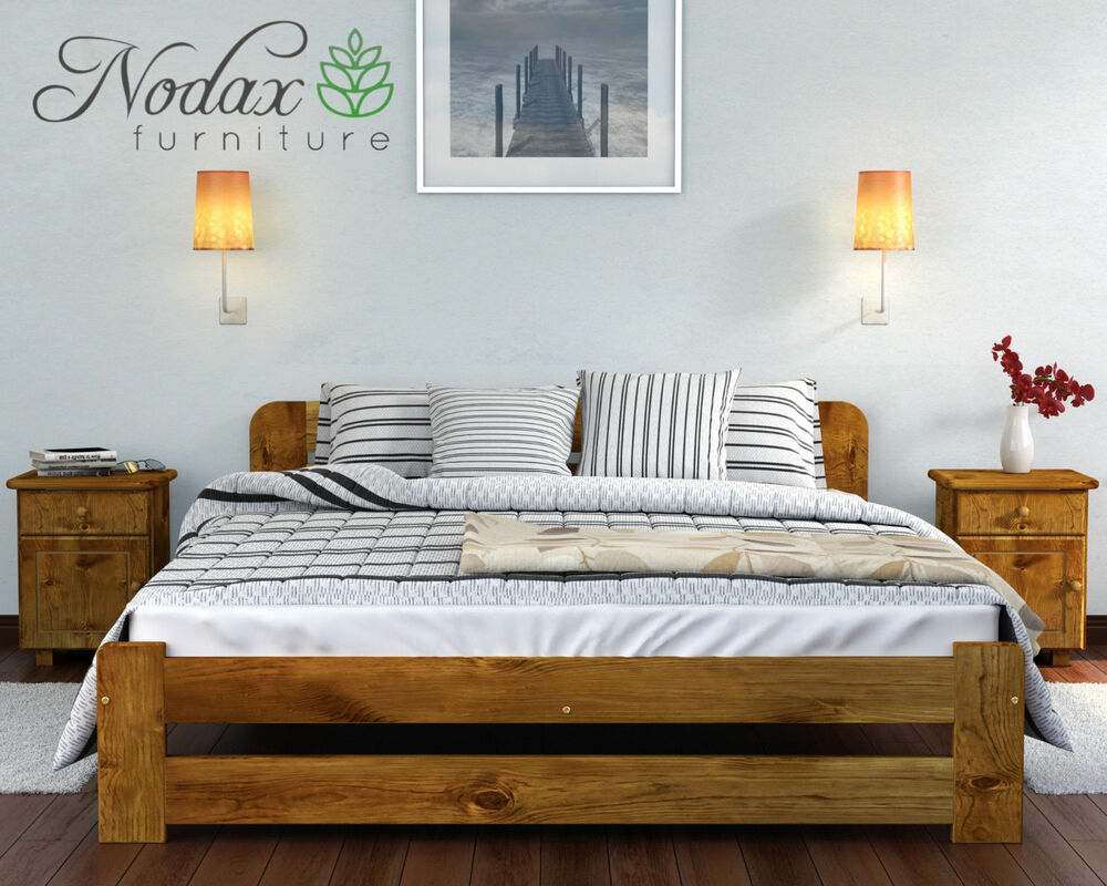 Nodax new wooden solid double bedframe 4ft6in in oak for New bed frame