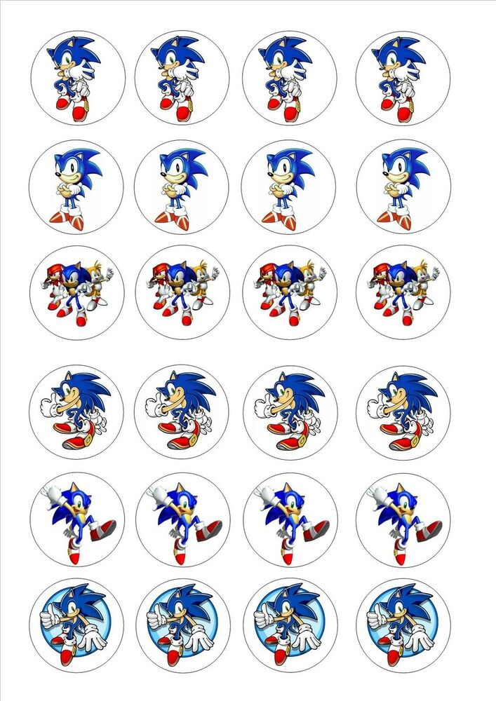 24 Edible cake toppers decorations sonic the hedgehog | eBay