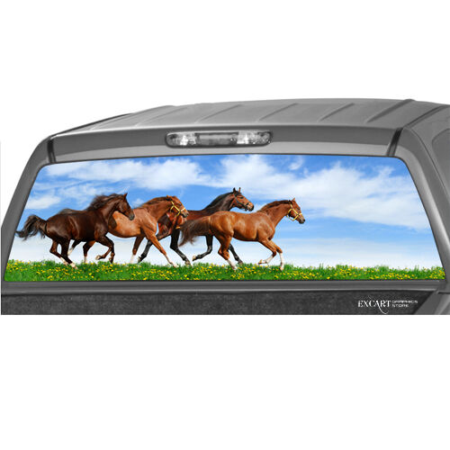 Horses running rear window graphic decal print tint truck for Window horses