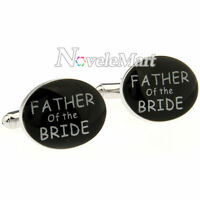 FATHER of the BRIDE Wedding Suit Shirt Cufflinks Black Oval Shape Cuff Links