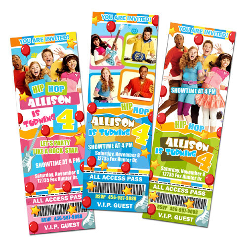 THE FRESH BEAT BAND PARTY BIRTHDAY INVITATION TICKET CARDS