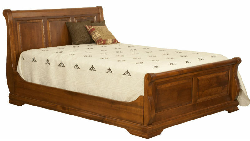 amish queen luxury bedroom set rustic panel sleigh bed solid wood