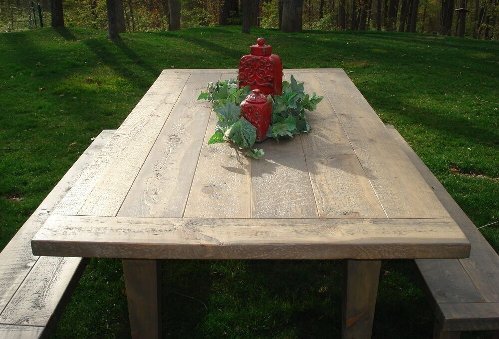 Plank Farmhouse Dining Table Set Bench Rustic Kitchen Furniture Solid