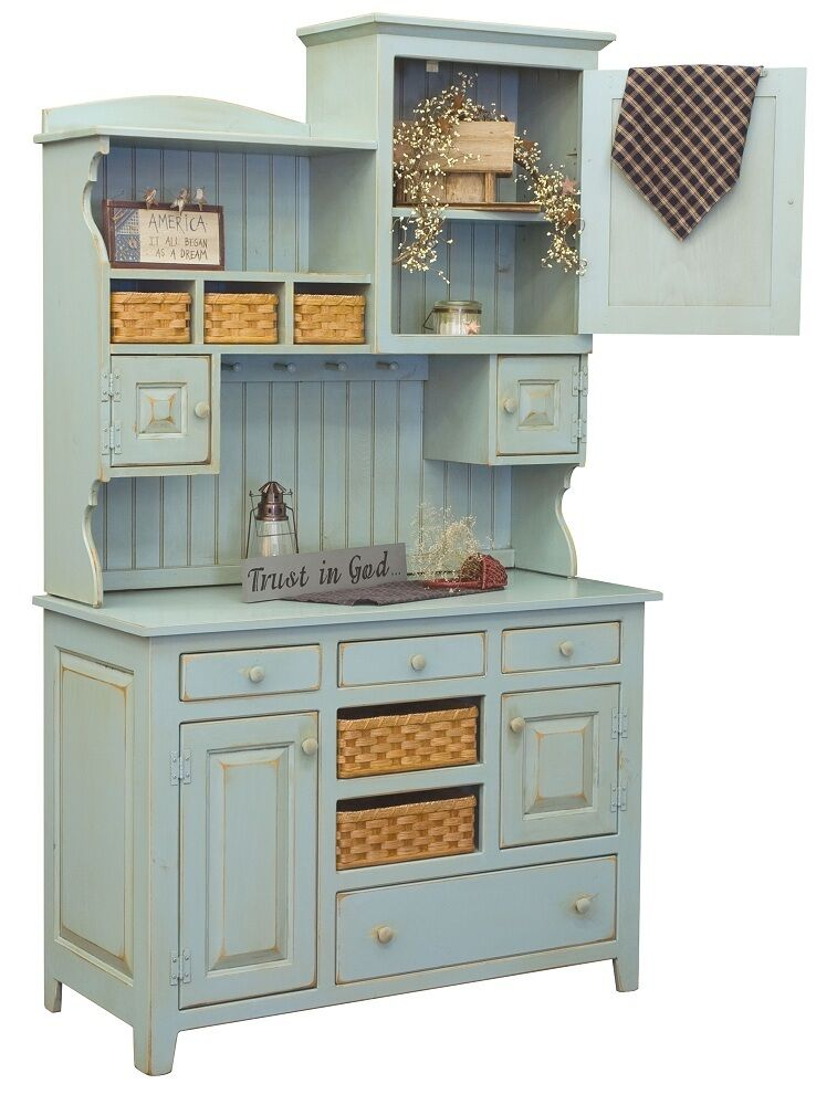 Amish country kitchen hutch farm house pantry cupboard wood primitive furniture ebay - Amish built kitchen cabinets ...