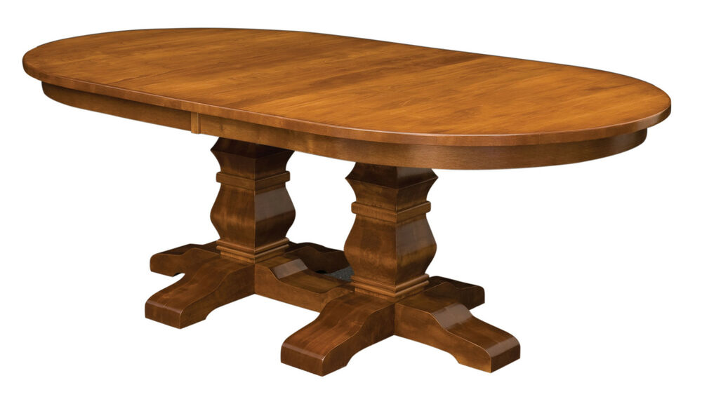 Large amish oval double pedestal dining room table solid for 3 leaf dining room tables
