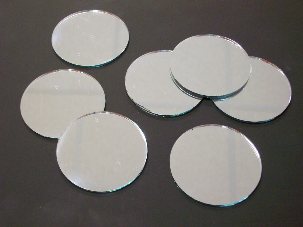glass mirror 48mm round tiles craft circle pocket 1 9 ebay