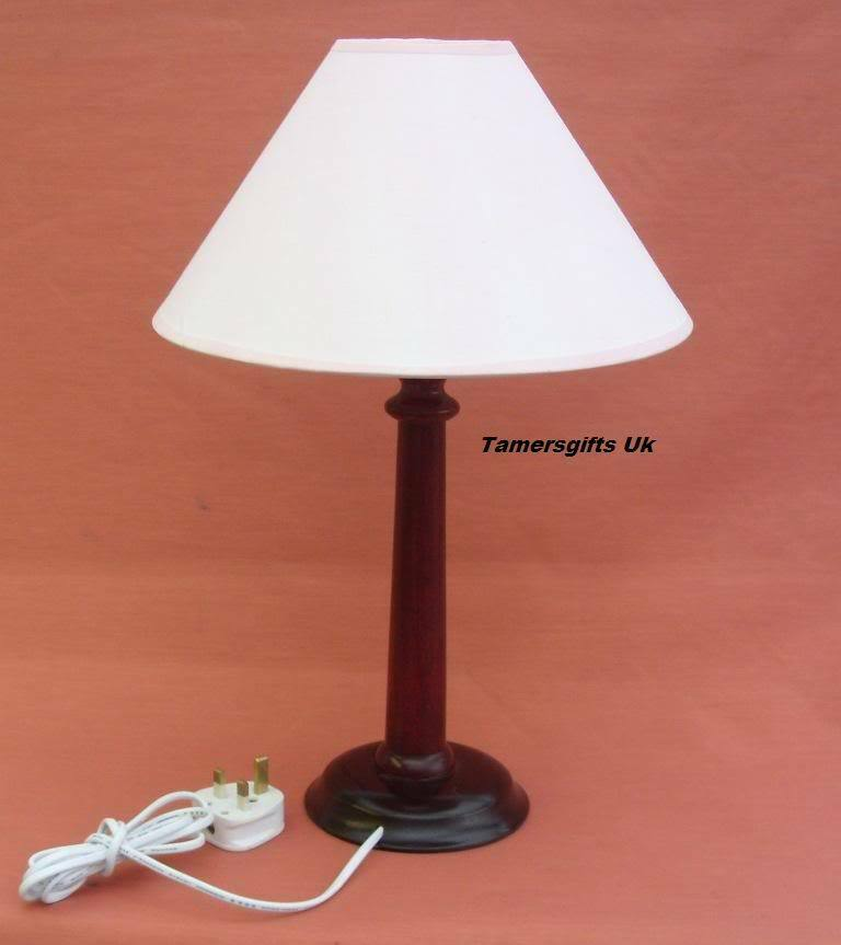 2 x traditional mahogany wood table lamp bases shades ebay. Black Bedroom Furniture Sets. Home Design Ideas