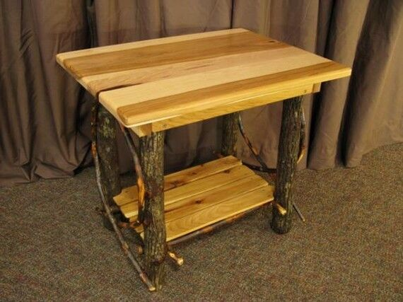 Amish rustic log end table solid hickory wood furniture