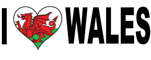 I LOVE WALES WITH HEART FILLED WELSH FLAG VINYL STICKER