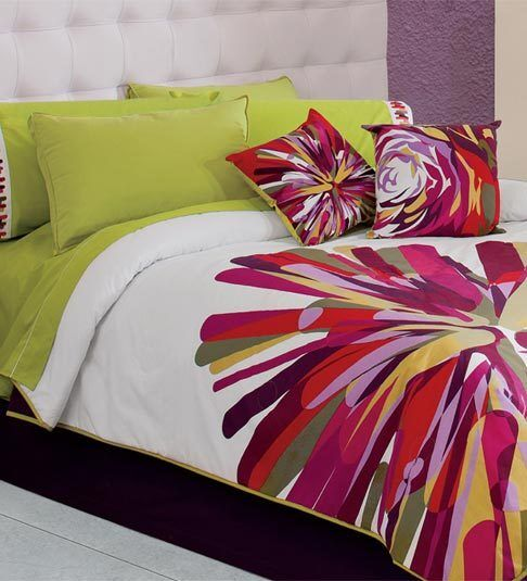 New lime green white colorfull pink comforter bedding embroidered