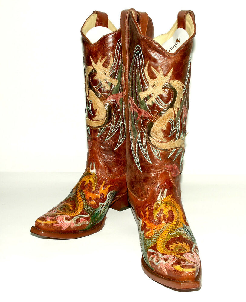 cowboy boots womens 5 m b brown knee high by ...  |Cowboy Boots With Colored Tops