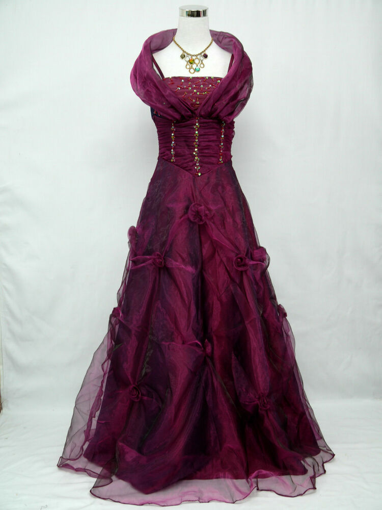 Cherlone plus size purple ballgown wedding prom evening for Plus size purple wedding dress