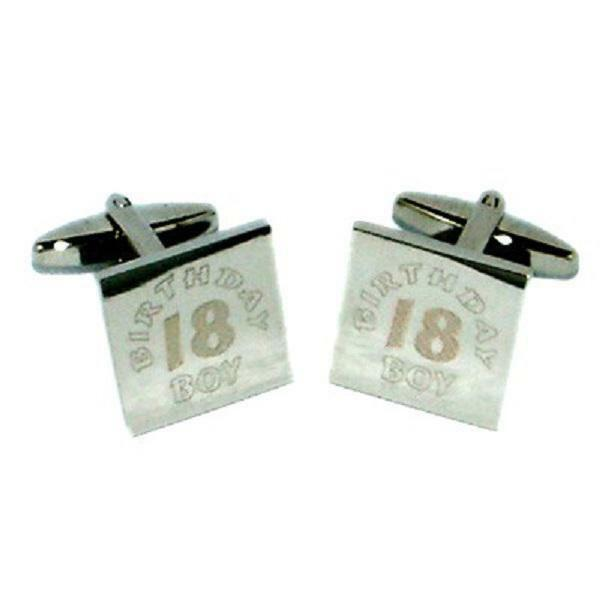18th Birthday Boy Engraved Cufflinks Eighteenth 18 Years