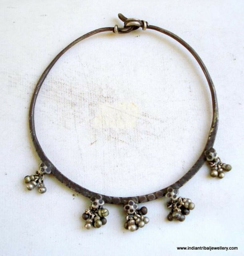 vintage antique tribal old silver neck ring necklace