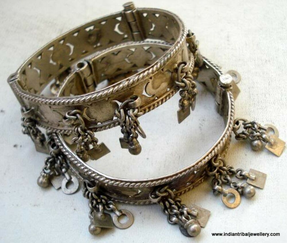 Tribal Bellydance Jewelry Old Silver Charm Bracelet Bangle