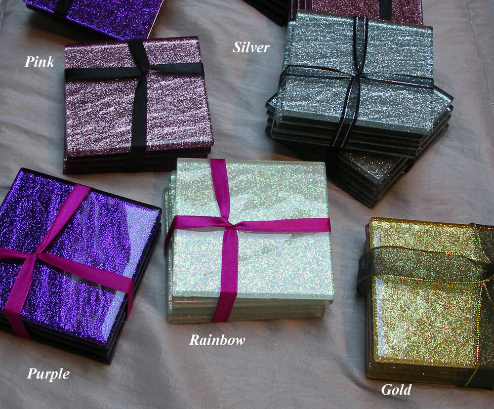 glass coasters (set of ) mm x mm glitter mm thick  ebay -