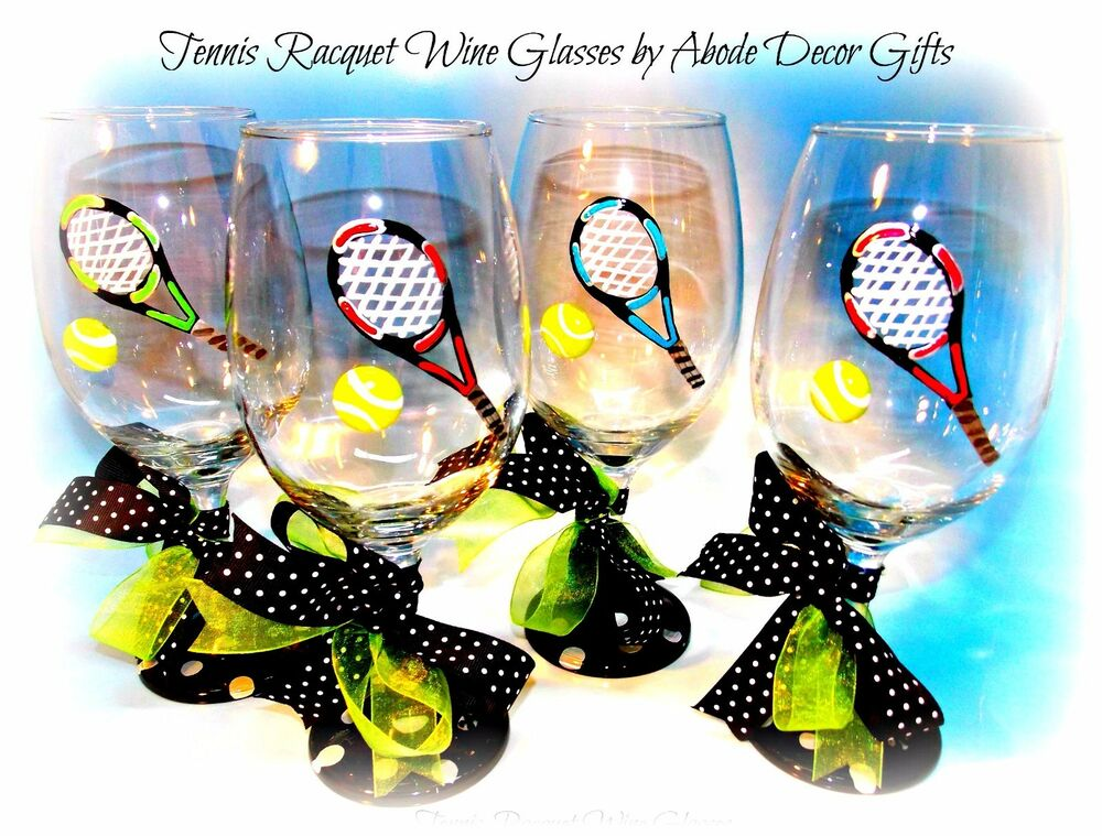 Tennis Wine Glass Hand Painted Individual Glasses Gift