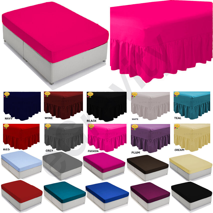 Plain Dyed Fitted Flat Deep Valance Sheet Bed Sheet All