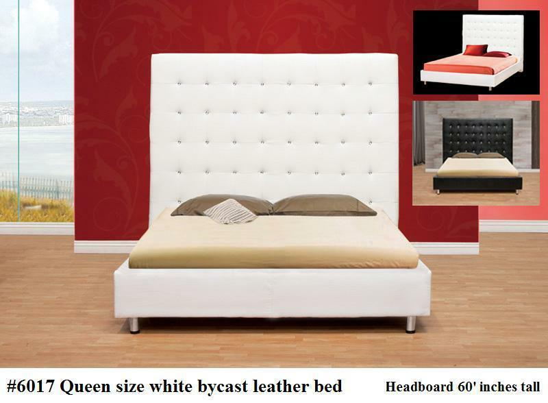 6017 gorgeous modern leather white bed with tall headboard in queen size ebay. Black Bedroom Furniture Sets. Home Design Ideas