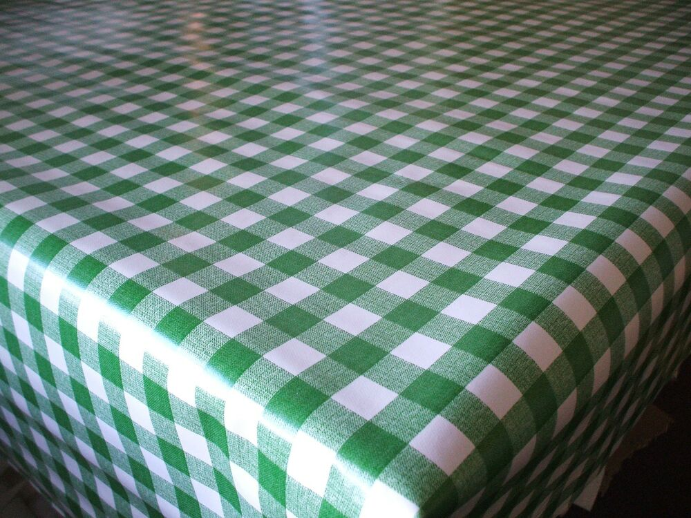 Green And White Gingham Check Wipe Clean Tablecloth Vinyl