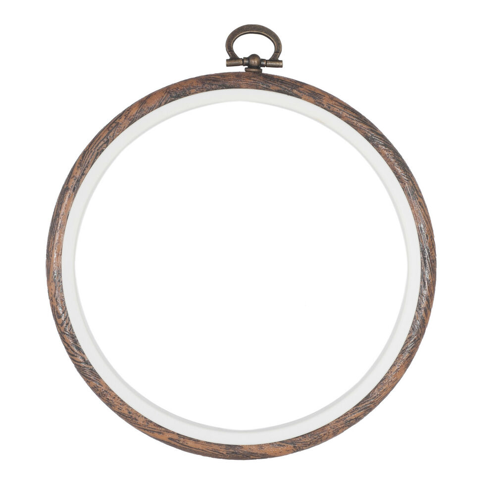 Embroidery Flexi Hoop Cross Stitch Sewing Round PLASTIC Frame Wood Colour 4 Inch | EBay