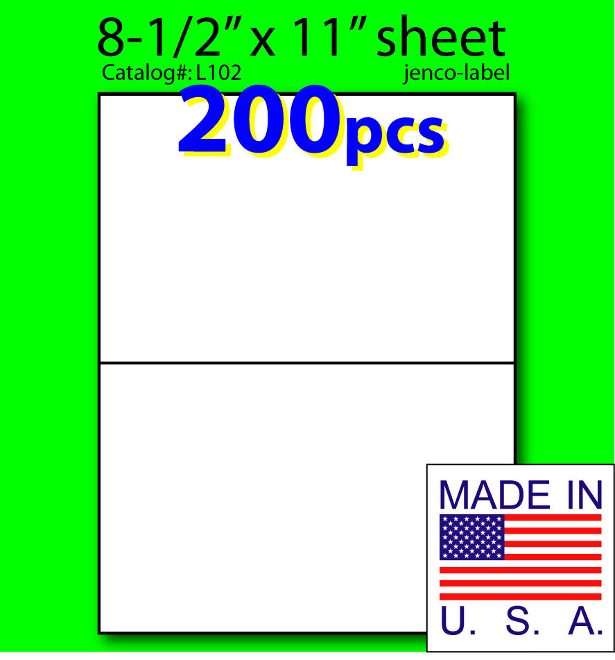 L102 200 half sheet labels laser inkjet 8 1 2x5 1 2 ebay for Half page labels