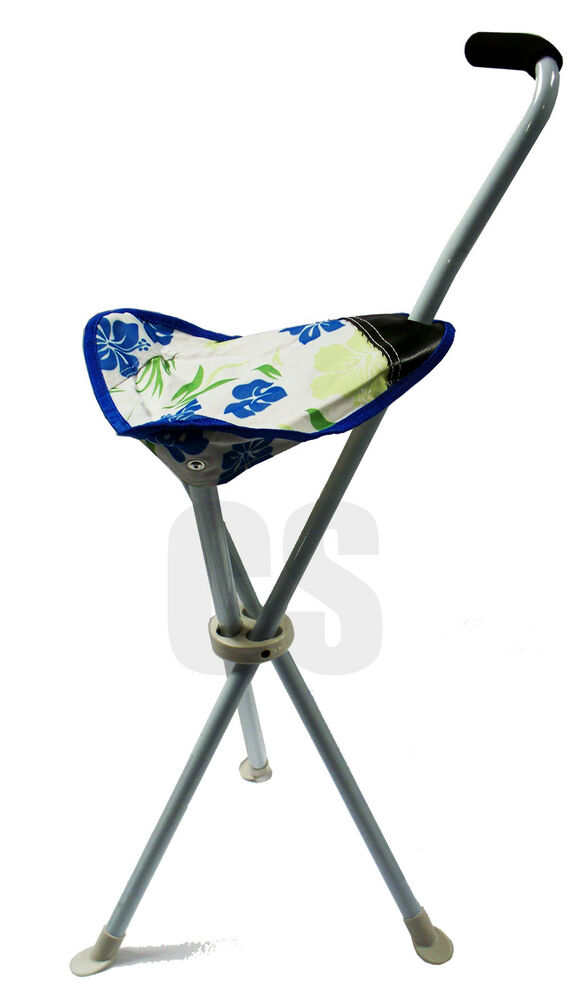 Folding Tripod Chair Stool Seat Built In Walking Stick In