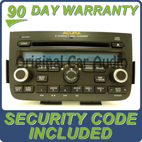 2005 2006 Acura MDX 6 CD Player Radio With DVD Option Rear