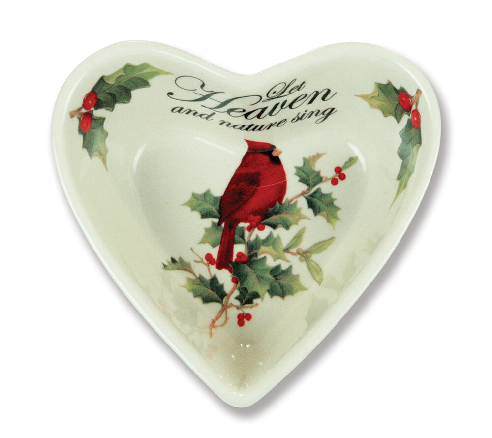 Christmas holiday heart shaped bowl candy dish set of