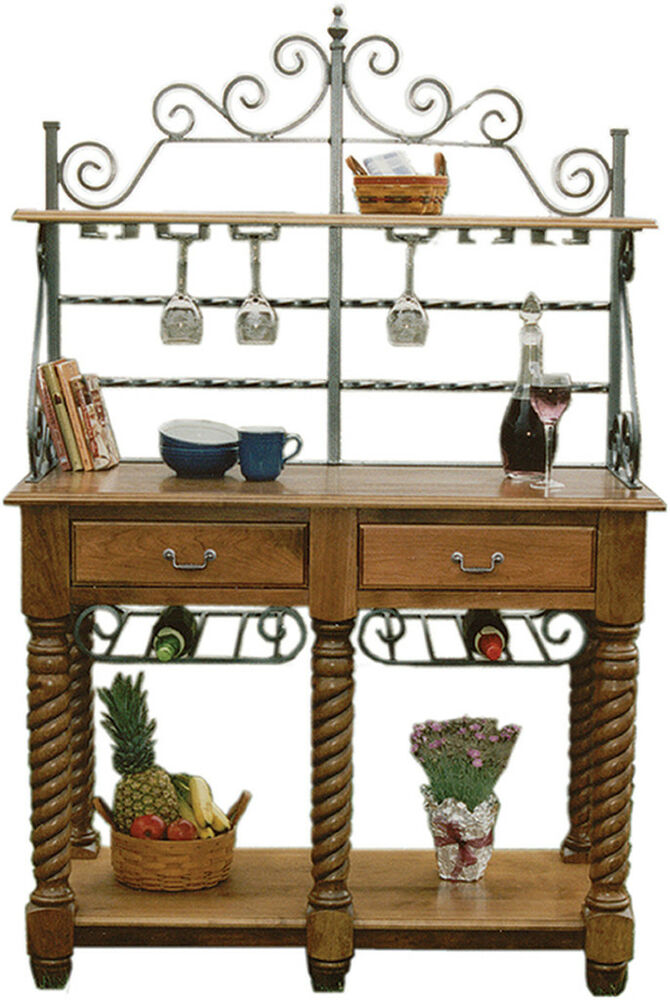 Amish kitchen bakers rack tuscany wrought iron wood wine