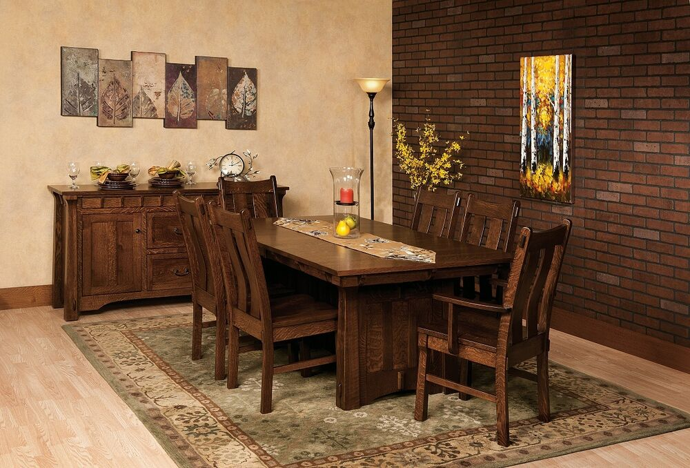 Amish mission trestle dining table kitchen solid wood for Dining room tables amish