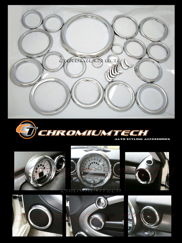 Mk2 Mini Cooper R55 R56 R57 R58 R59 Chrome Interior Dial Dashboard Trim Kit 27pc Ebay
