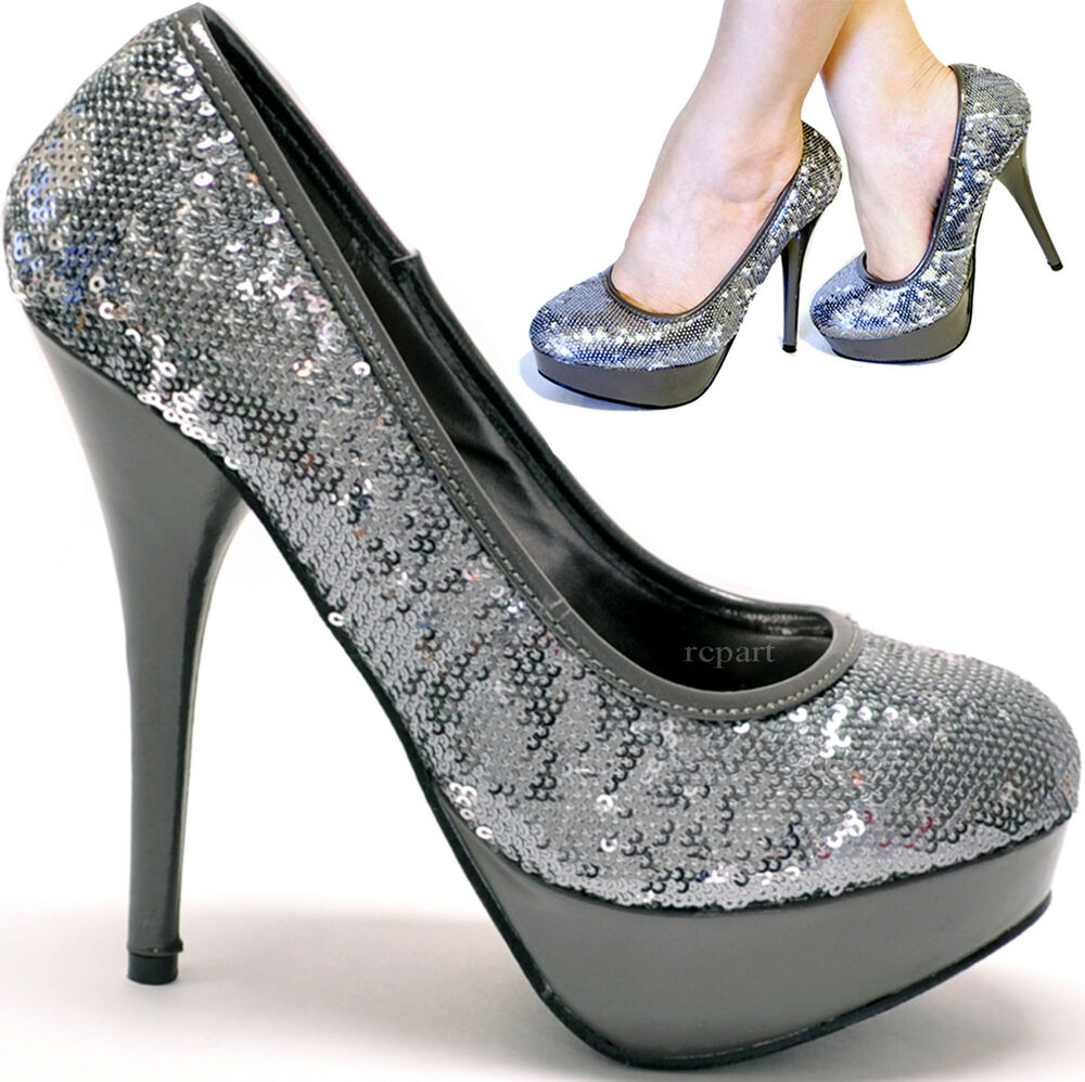 Pewter High Heel Evening Shoes
