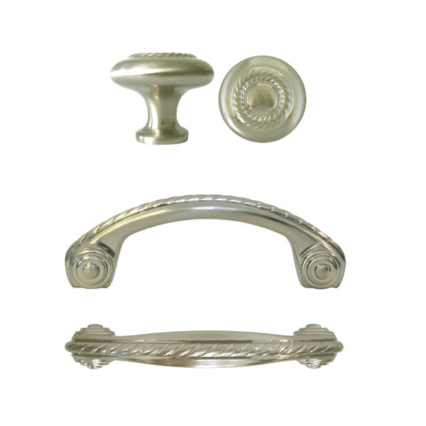 Satin nickel rope kitchen cabinet drawer knobs and pulls 3 for 3 kitchen cabinet handles