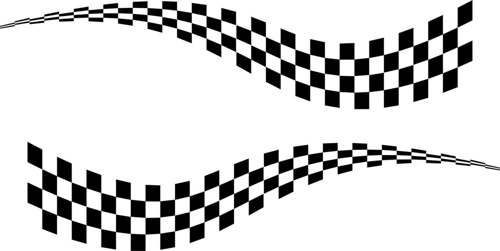 2 x large chequered flag vinyl stickers 3 sizes race car