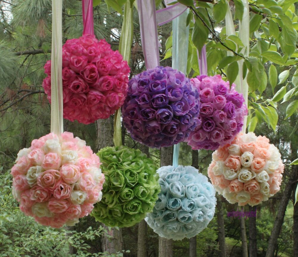 Kissing ball pomander flowers ball crystal pew bows for Floral wedding decorations ideas